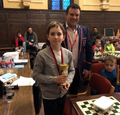 Gleb in Year 5 celebrate success in the Junior Chess Tournament